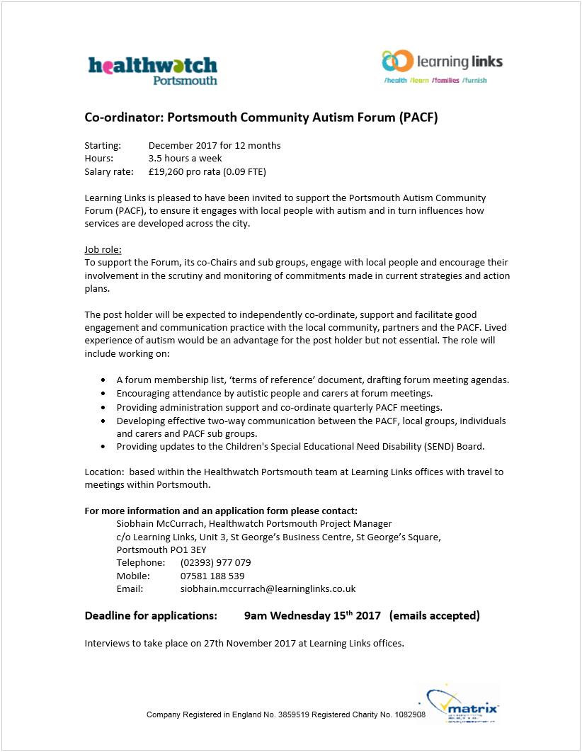 Portsmouth Autism Community Forum (PACF) coordinator job application
